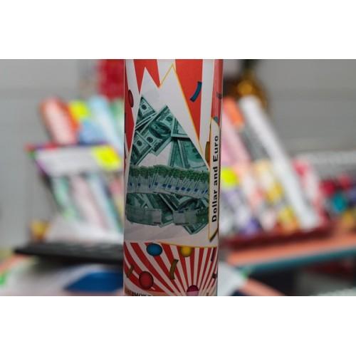 """Хлопушка """"Доллары и евро"""" 30 см"""